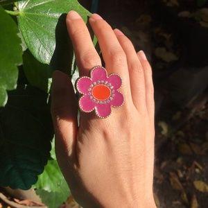 Betsey Johnson Flower Ring Pink